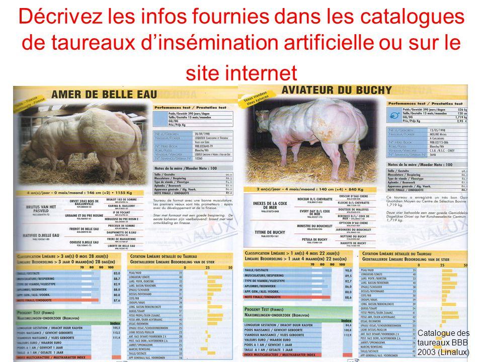 Décrivez les infos fournies dans les catalogues de taureaux d'insémination artificielle ou sur le site internet
