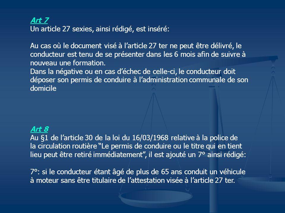 Art 7 Un article 27 sexies, ainsi rédigé, est inséré: Au cas où le document visé à l'article 27 ter ne peut être délivré, le.