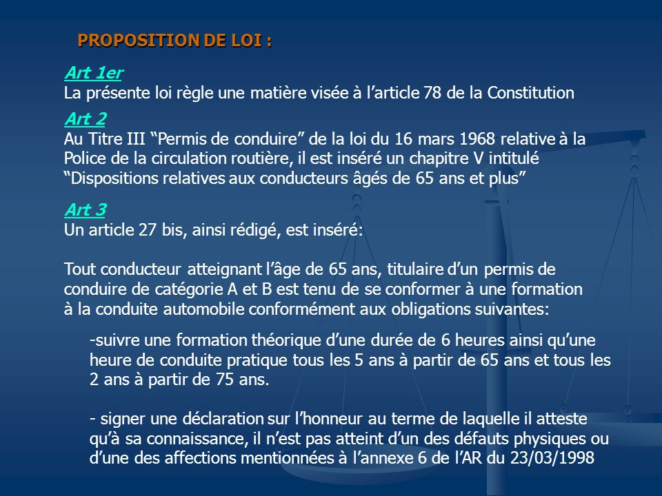 PROPOSITION DE LOI : Art 1er. La présente loi règle une matière visée à l'article 78 de la Constitution.