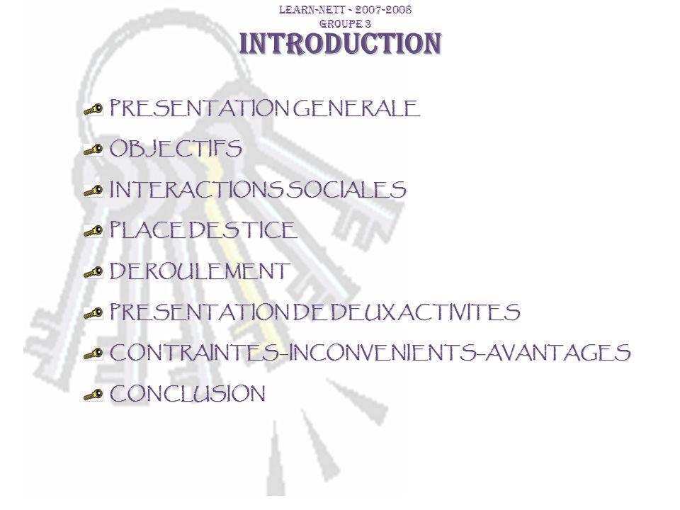 INTRODUCTION PRESENTATION GENERALE OBJECTIFS INTERACTIONS SOCIALES