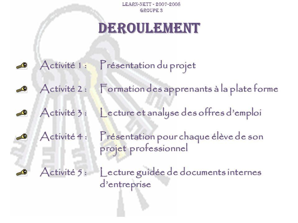 DEROULEMENT Activité 1 : Présentation du projet