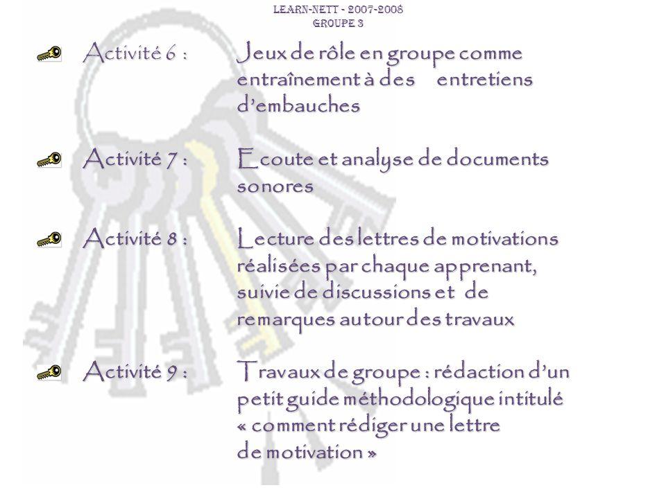 Activité 7 : Ecoute et analyse de documents sonores