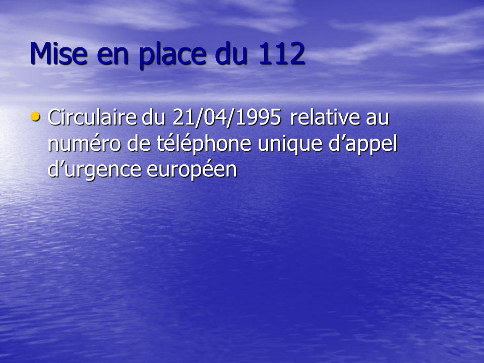 Mise en place du 112 Circulaire du 21/04/1995 relative au numéro de téléphone unique d'appel d'urgence européen.