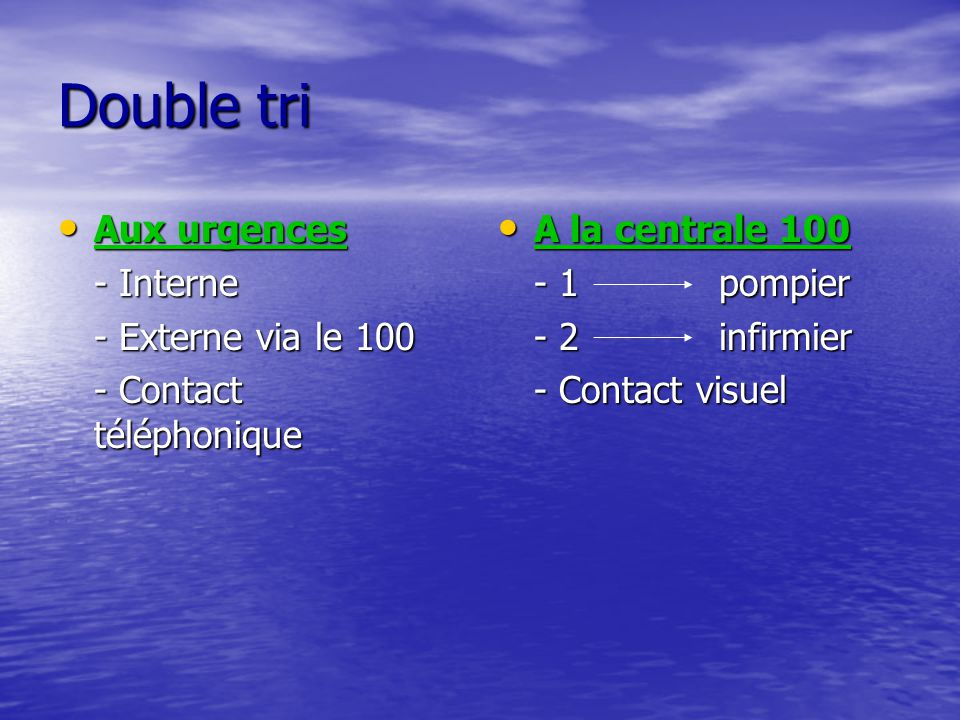 Double tri Aux urgences - Interne - Externe via le 100
