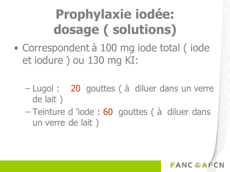 Prophylaxie iodée: dosage ( solutions)