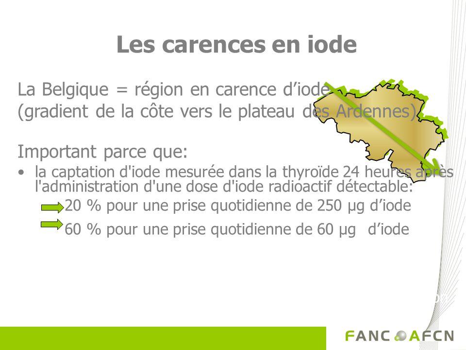 Les carences en iode La Belgique = région en carence d'iode