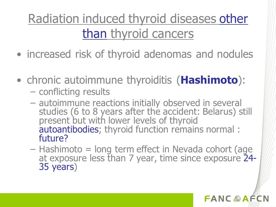 Radiation induced thyroid diseases other than thyroid cancers