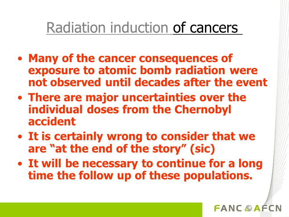 Radiation induction of cancers