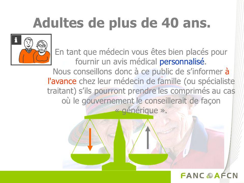 Adultes de plus de 40 ans. i. En tant que médecin vous êtes bien placés pour fournir un avis médical personnalisé.