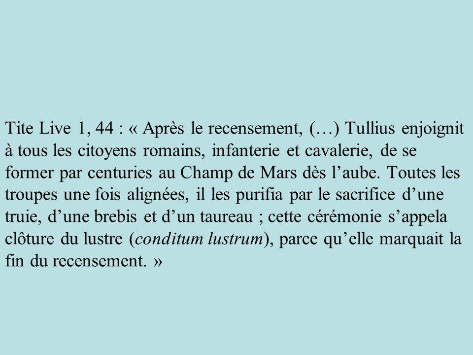 Tite Live 1, 44 : « Après le recensement, (…) Tullius enjoignit à tous les citoyens romains, infanterie et cavalerie, de se former par centuries au Champ de Mars dès l'aube.