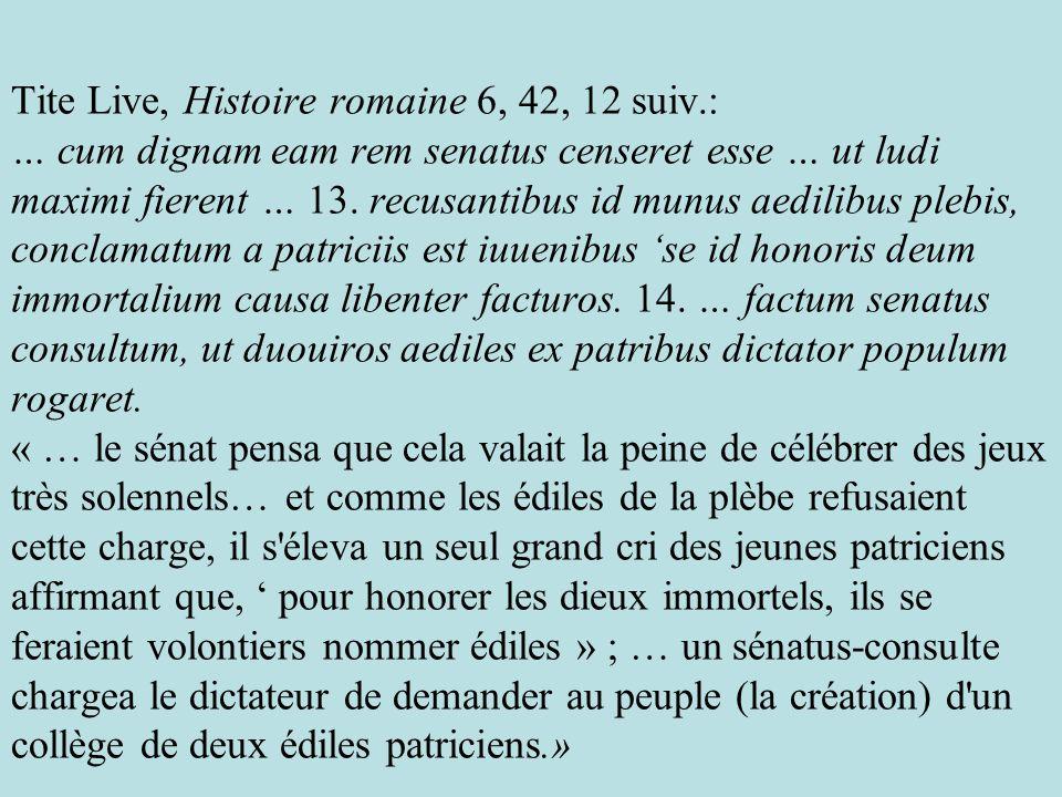 Tite Live, Histoire romaine 6, 42, 12 suiv