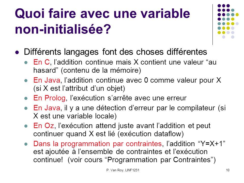 Quoi faire avec une variable non-initialisée