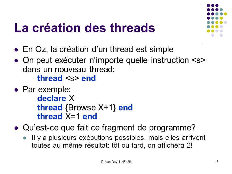 La création des threads