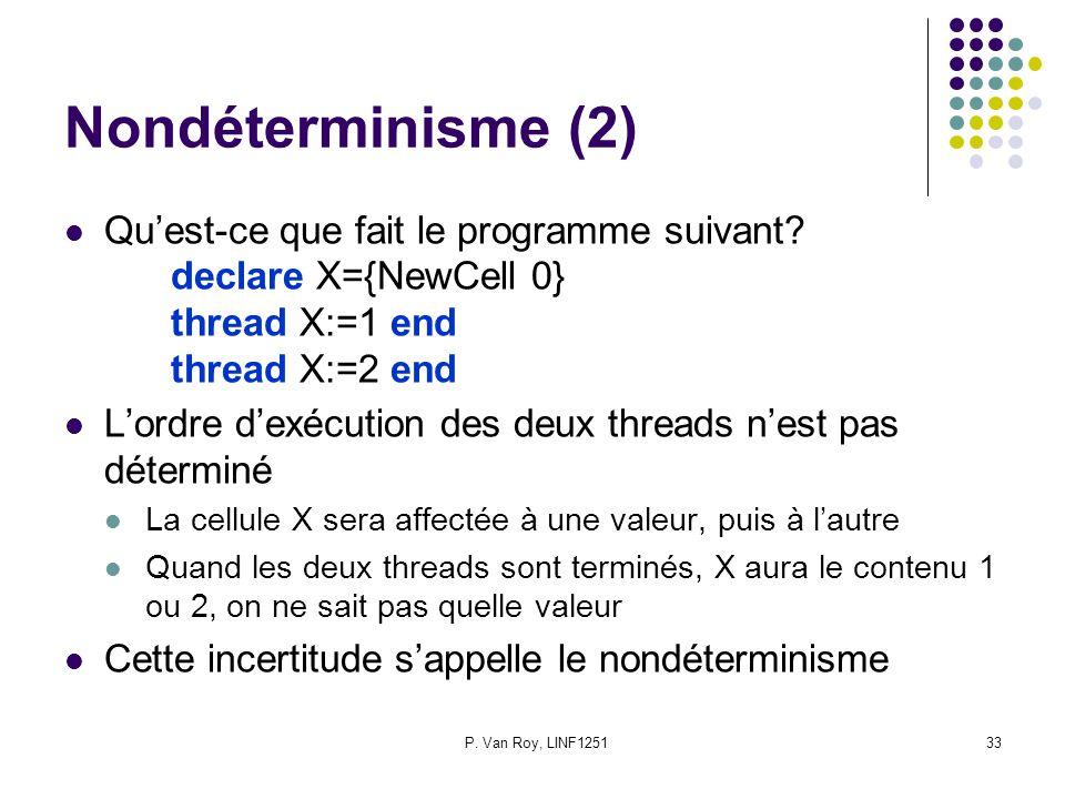 Nondéterminisme (2) Qu'est-ce que fait le programme suivant declare X={NewCell 0} thread X:=1 end thread X:=2 end.