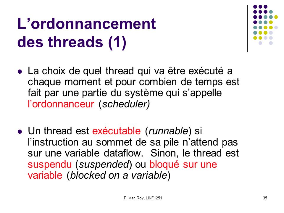 L'ordonnancement des threads (1)