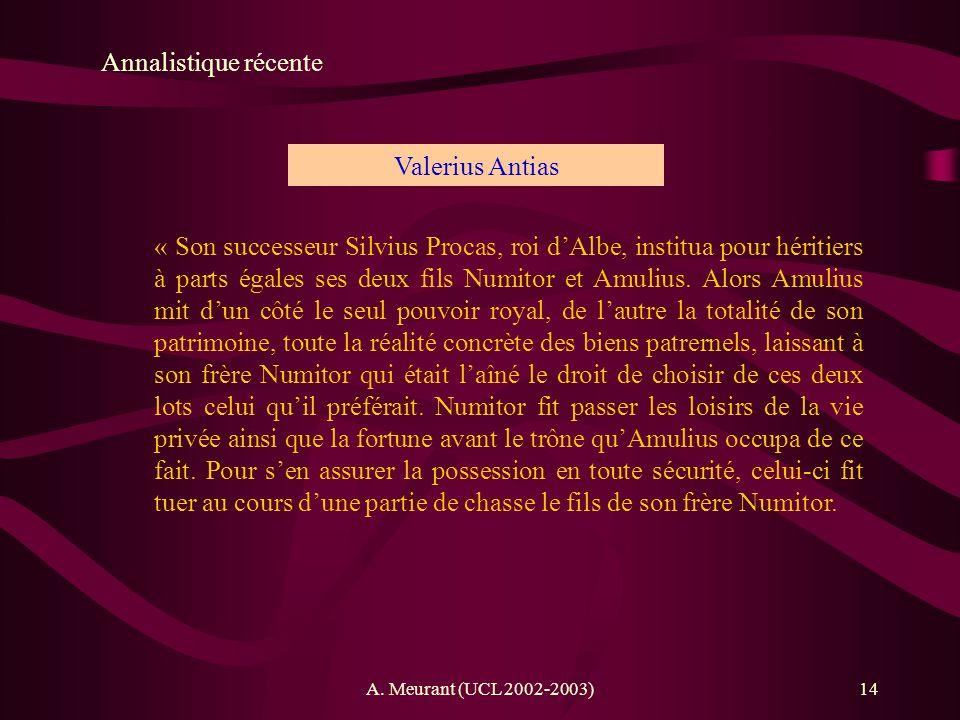 Annalistique récente Valerius Antias