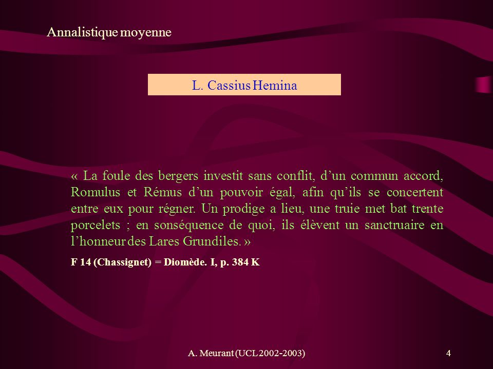 Annalistique moyenne L. Cassius Hemina