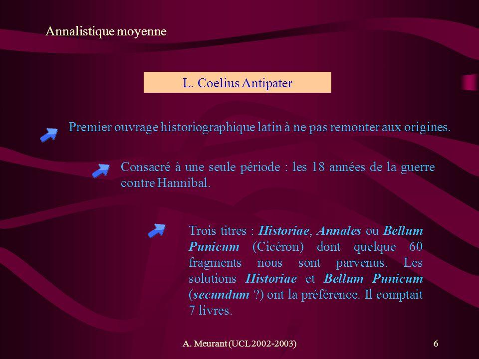 Annalistique moyenne L. Coelius Antipater