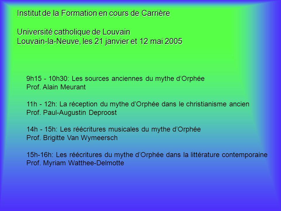 31/03/2017 Institut de la Formation en cours de Carrière Université catholique de Louvain Louvain-la-Neuve, les 21 janvier et 12 mai 2005.