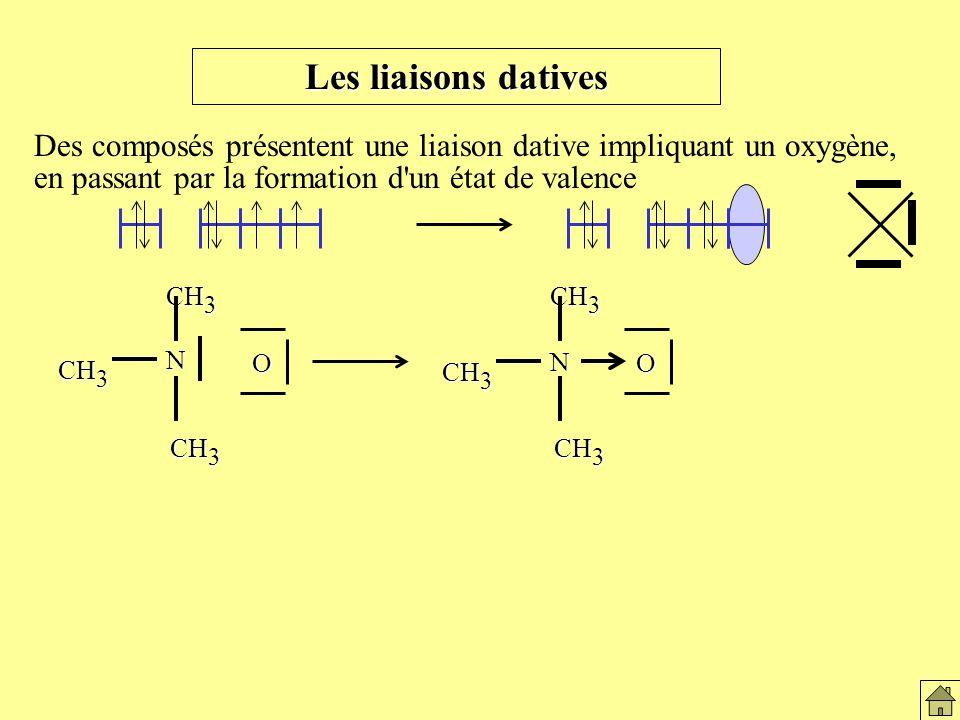 Les liaisons datives Les liaisons datives. Des composés présentent une liaison dative impliquant un oxygène,