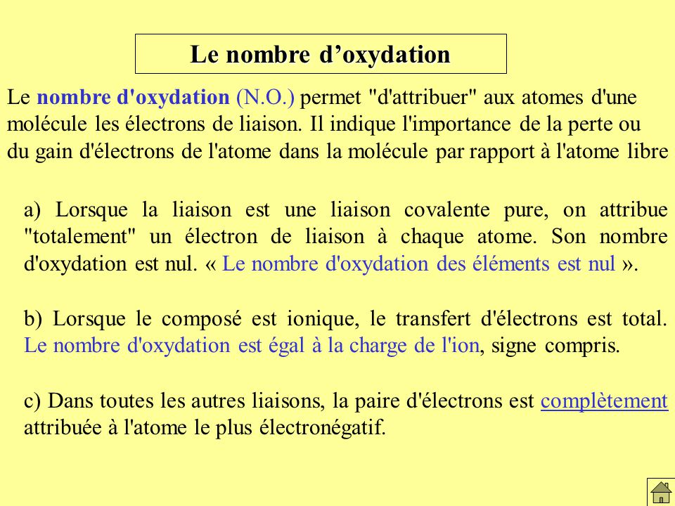 Définition du nbre d' oxydation