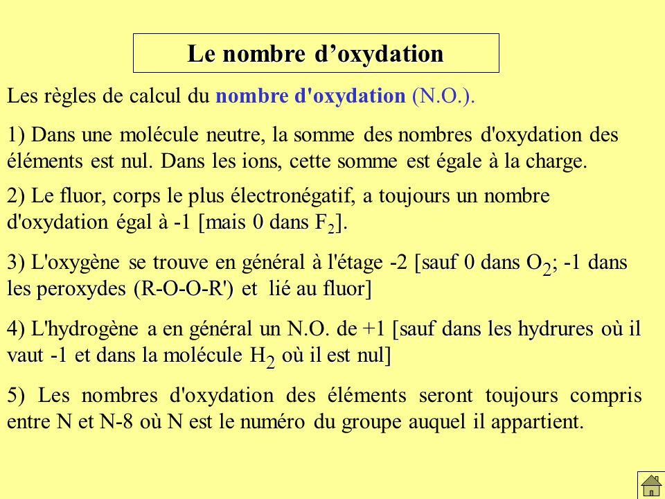 Régles de calcul Le nombre d'oxydation. Les règles de calcul du nombre d oxydation (N.O.).