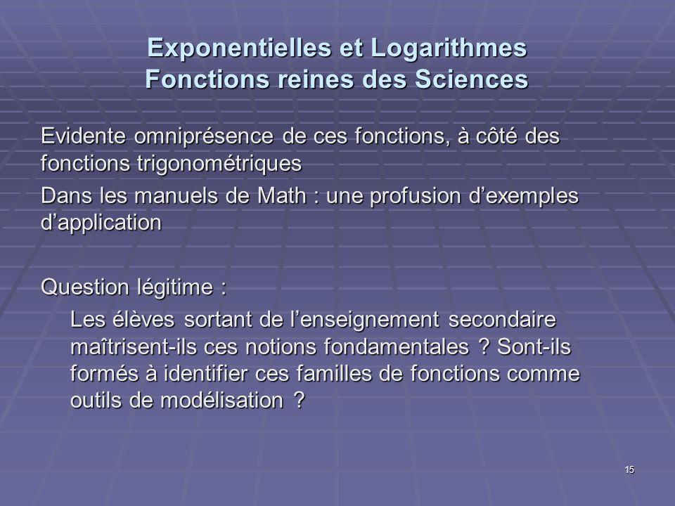 Exponentielles et Logarithmes Fonctions reines des Sciences