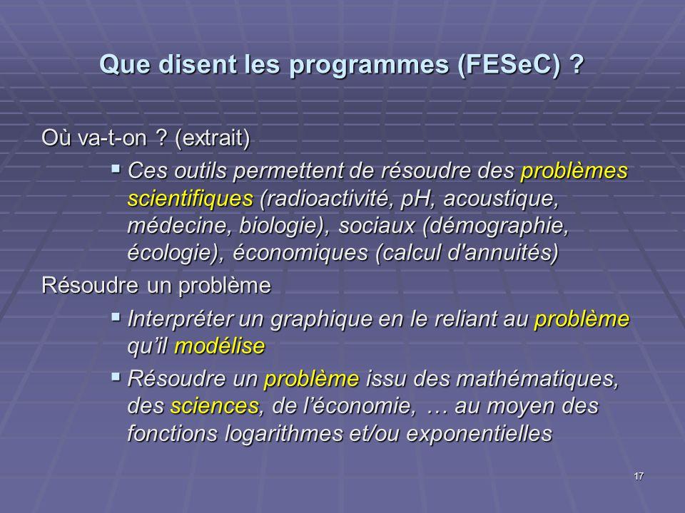 Que disent les programmes (FESeC)