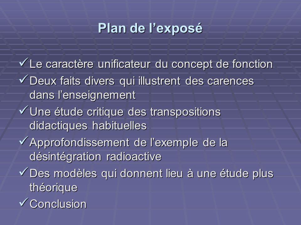 Plan de l'exposé Le caractère unificateur du concept de fonction