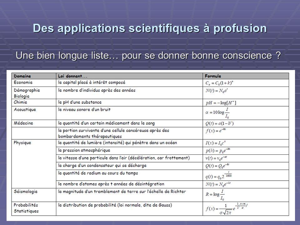 Des applications scientifiques à profusion