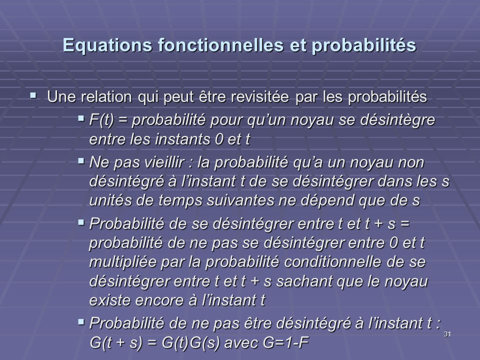 Equations fonctionnelles et probabilités