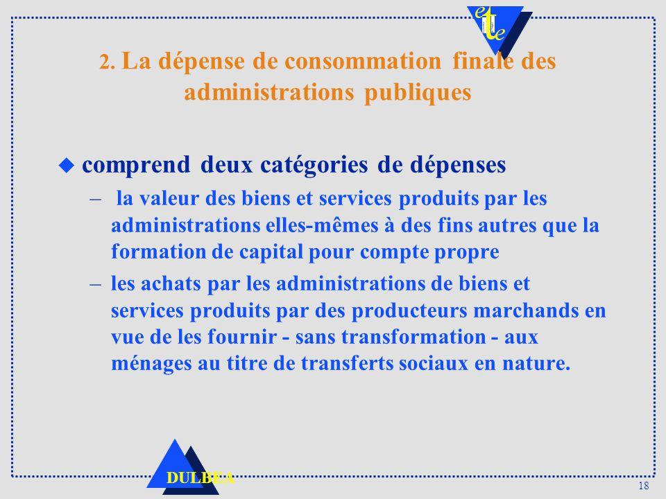 2. La dépense de consommation finale des administrations publiques