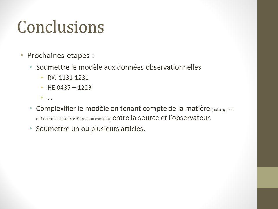 Conclusions Prochaines étapes :