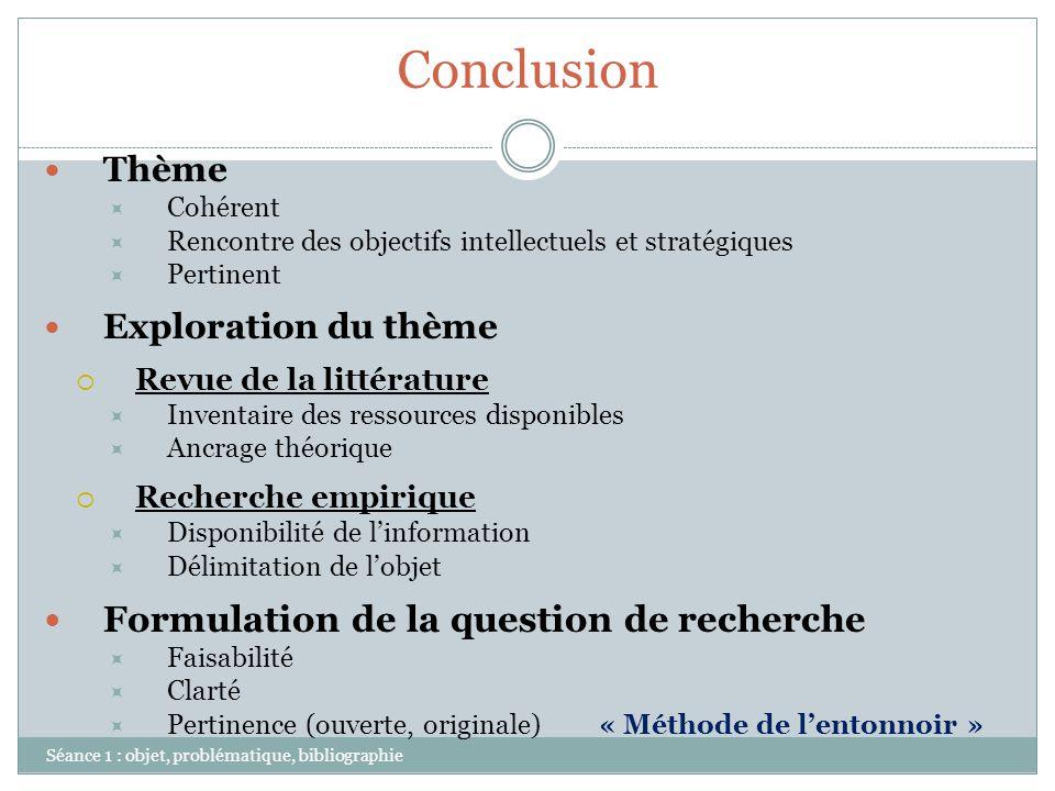 Conclusion Formulation de la question de recherche Thème