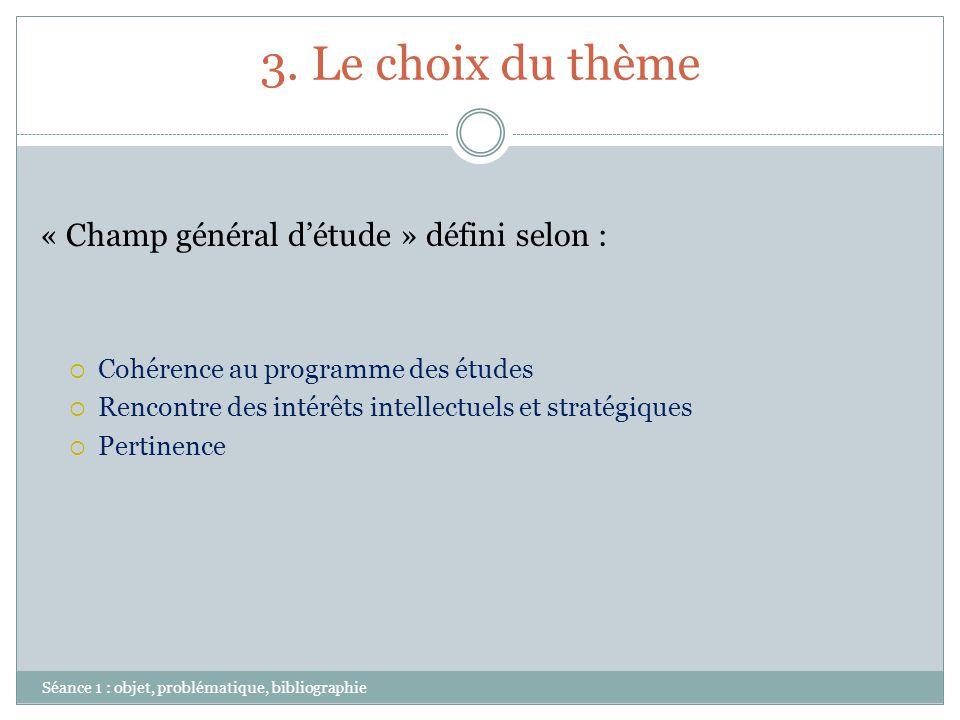 3. Le choix du thème « Champ général d'étude » défini selon :