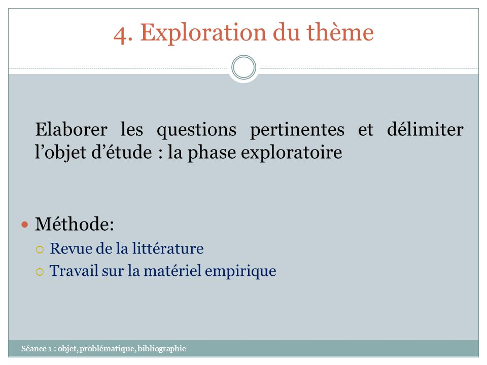 4. Exploration du thème Elaborer les questions pertinentes et délimiter l'objet d'étude : la phase exploratoire.