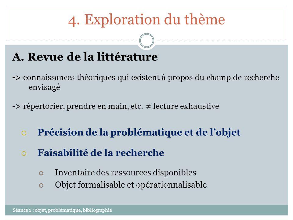 4. Exploration du thème A. Revue de la littérature
