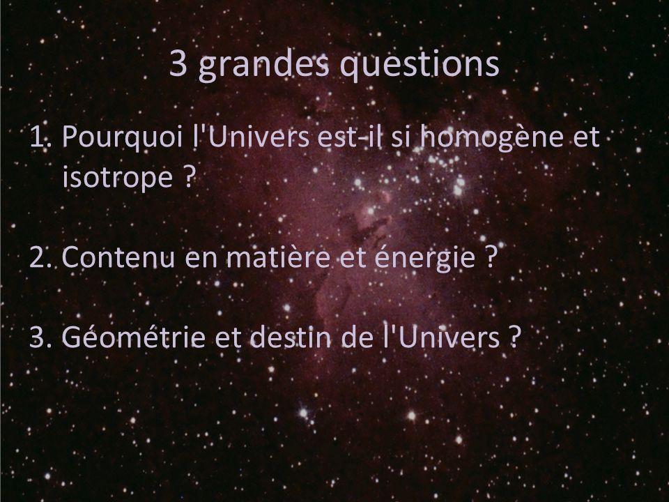 3 grandes questions 1. Pourquoi l Univers est-il si homogène et isotrope 2. Contenu en matière et énergie
