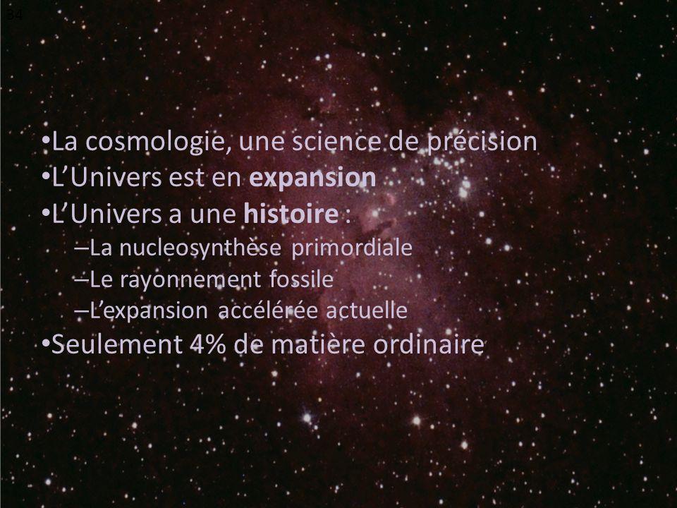 La cosmologie, une science de précision L'Univers est en expansion