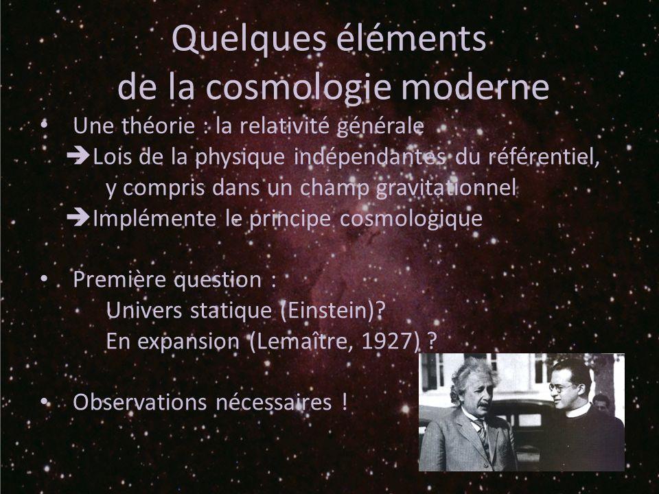 de la cosmologie moderne