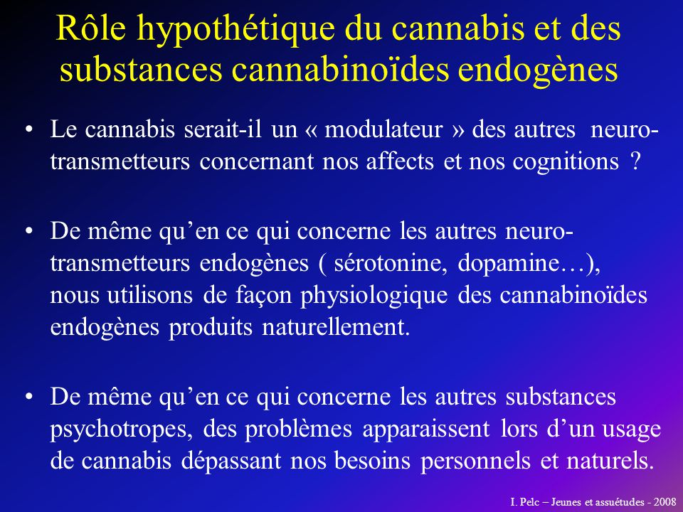 Rôle hypothétique du cannabis et des substances cannabinoïdes endogènes