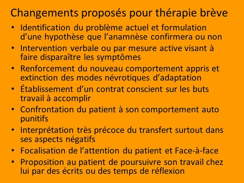 Changements proposés pour thérapie brève