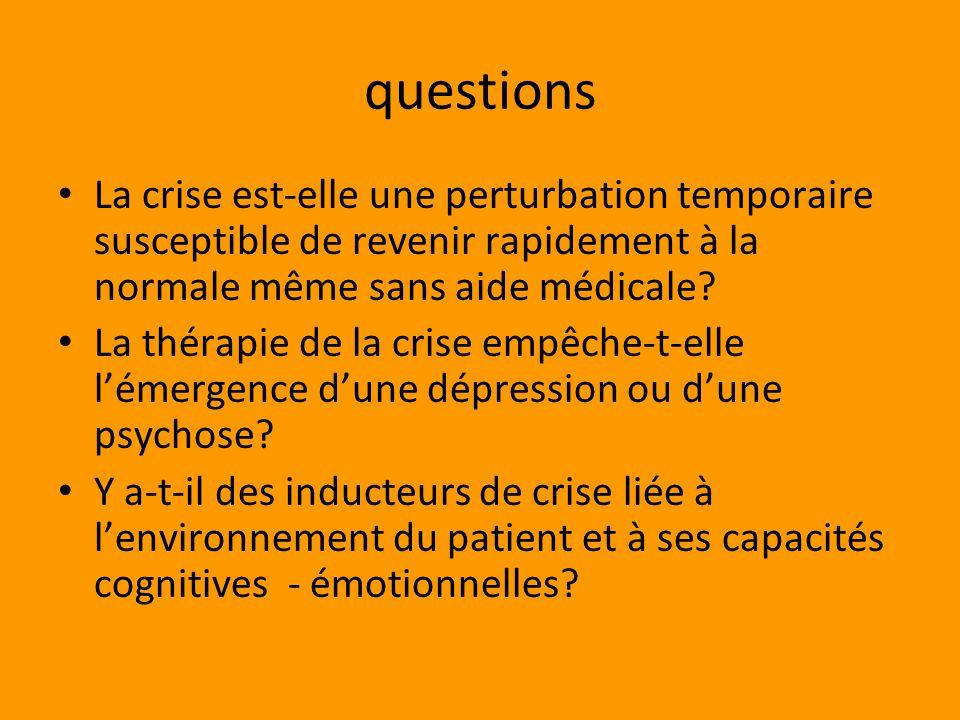 questions La crise est-elle une perturbation temporaire susceptible de revenir rapidement à la normale même sans aide médicale