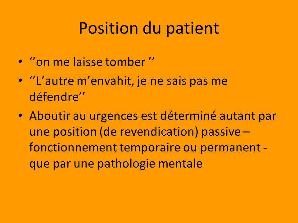Position du patient ''on me laisse tomber ''