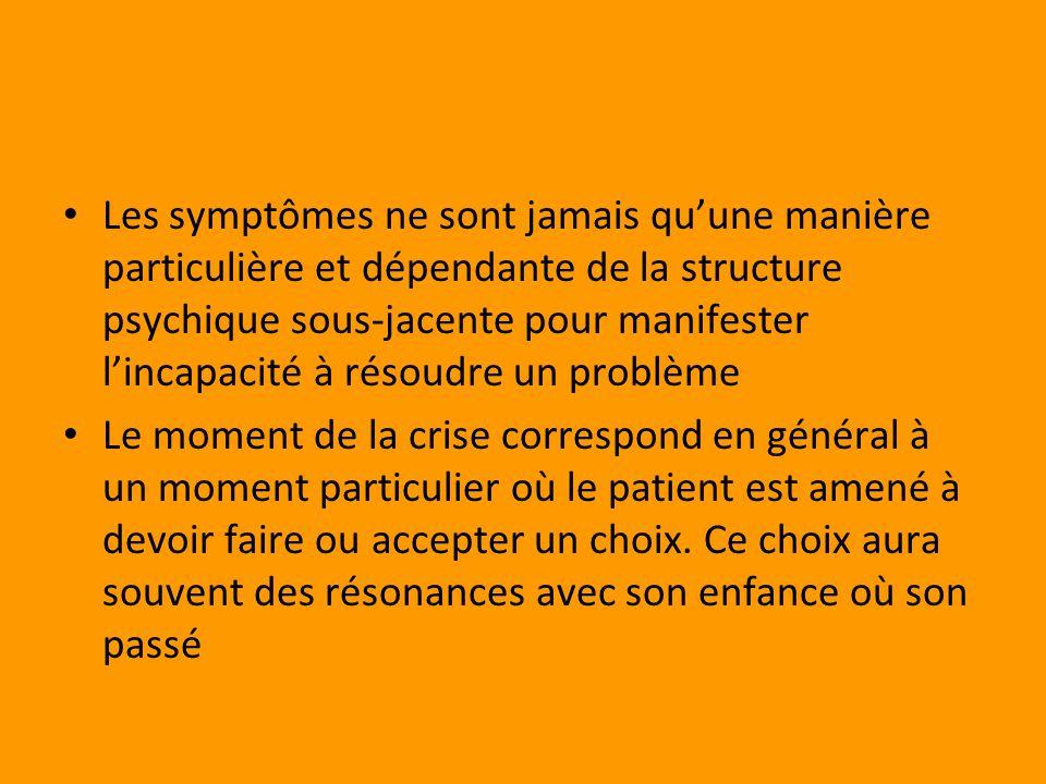 Les symptômes ne sont jamais qu'une manière particulière et dépendante de la structure psychique sous-jacente pour manifester l'incapacité à résoudre un problème