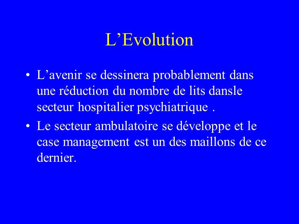 L'Evolution L'avenir se dessinera probablement dans une réduction du nombre de lits dansle secteur hospitalier psychiatrique .