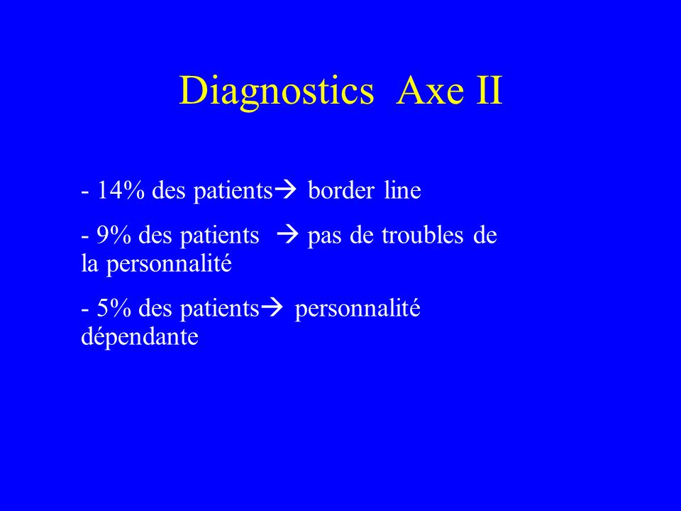 Diagnostics Axe II - 14% des patients border line