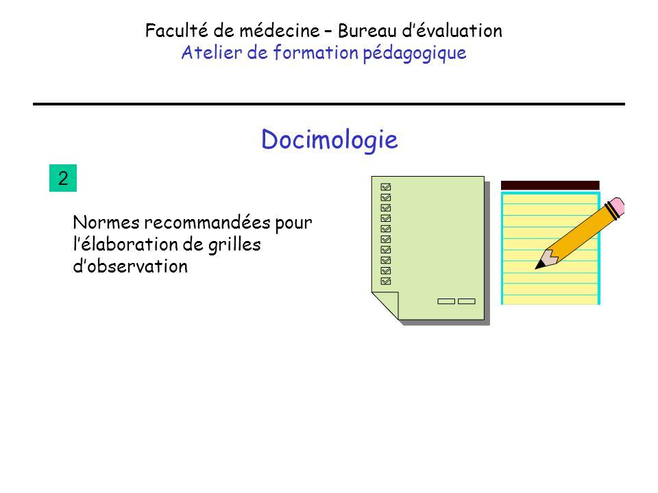 Docimologie Faculté de médecine – Bureau d'évaluation