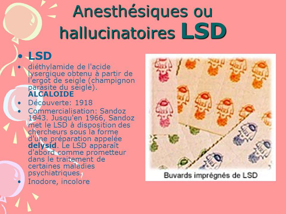 Anesthésiques ou hallucinatoires LSD