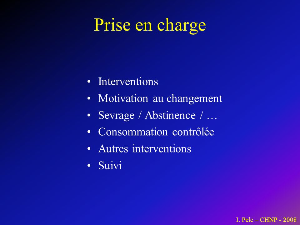Prise en charge Interventions Motivation au changement